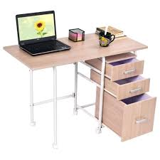 foldable computer desk folding computer laptop desk wheeled home office furniture with 3 drawers new folding foldable computer desk