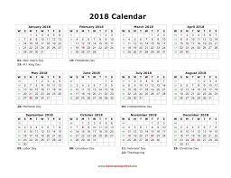 Calender Yearly Blank Calendar 2018