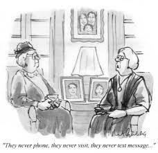 cartoon seniors talk about no visits or calls