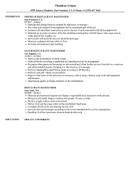 Restaurant Bartender Resume Samples Velvet Jobs