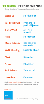 words to express your daily routines in french french words daily routine english