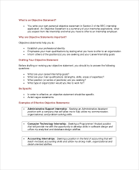 Objective In Internship Resume Resume Objective For Internship musiccityspiritsandcocktail 34