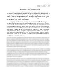 response to on dumpster diving essay at hopkins high school sammy ludlam english 9a shaw 2nd hour monday 12th 2011 response to on dumpster diving we ve all that one book or that one story that s