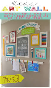 Kids Art Wall | Framed art and a place to clip up the kids' treasures