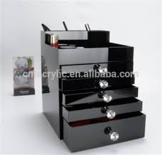 black large clear 5 tier acrylic cosmetic makeup organizer with drawers diamond