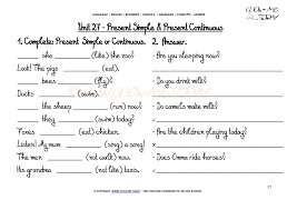 WORKSHEETS COMPLETE-ANSWER - Present Simple/Continuous U27