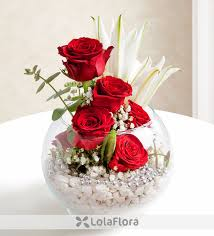 red roses lilies globe of love