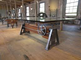 industrial wood furniture.  Industrial Antique Industrial Furniture Marvelous Vintage Wood Iron  Adjustable Glass Table Steering Wheel For Accent Hardwood With