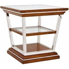 Table d'appoint carrée MONTAIGNE Inox, bois massif et plateau en verre