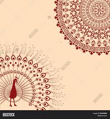 Indian Peacock Design Red Cream Indian Vector Photo Free Trial Bigstock