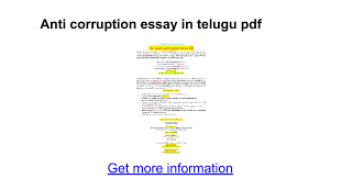 anti corruption essay in telugu pdf google docs