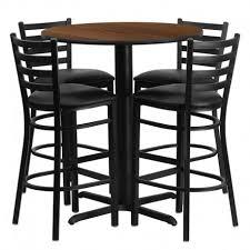 rivera round 30 walnut laminate bar pub table set w 4 ladder back