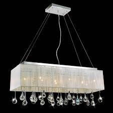 picture of 32 gocce modern string shade crystal rectangular chandelier chrome with black white