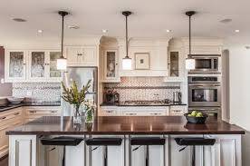 Lighting Design Ideas:Kitchen Pendant Lights Dazzling Above A White Kitchen  Island With Dark Granite