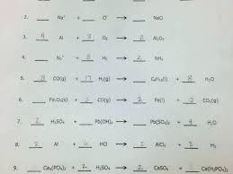 balanced chemical equations worksheet chemistry balancing answer key 1 50 and types of balancing chemical equations worksheet