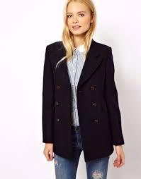 jack wills wool blend navy pea coat womens uk 10 us 6