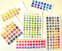 With so many tubes and pans of paint, it's impossible to remember the  characteristics of each, so I have got into the habit of making colour  charts.