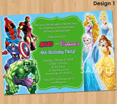 superheroes party invites double party invitation superheroes and princesses printable