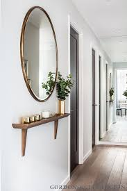 decorate narrow entryway hallway entrance. Narrow Hallway Shelf And Round Mirror For Entry Decorate Entryway Entrance Pinterest