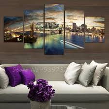5 panel new york city landscape canvas home decor wall art