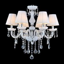 stunning six lights romantic white shades crystal droplet accented chandelier lights
