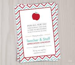 Teacher Appreciation Invitation Printable Teacher Thank You