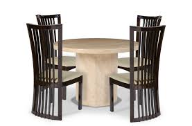 cream round marble dining table 4 piece set