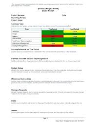 Project Management Report Templates One Page Project Status Report Template Project Update