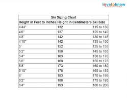 Ski Length Chart Child Ski Size Chart Lovetoknow