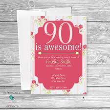 Amazon Com Set Of 10 90th Birthday Invitation 90 Is Awesome