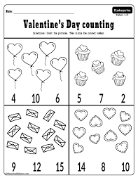 Valentine's Day math worksheets for kindergarten - counting to 20