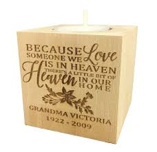 personalized memorial sympathy bereavement candle holder custom end wood keepsake ideas for loved one tea light wedding collectibles