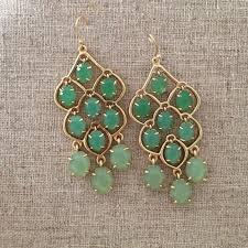 stella dot hannah chandelier statement earrings gold green