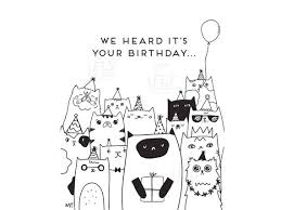 Black And White Birthday Cards Printable Printable Cat Birthday Card From All Of Us Black White Cat Printable Greeting Card Cute Cat Happy Birthday Card Instant Print