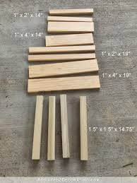 for the legs i used four 1 5 x 1 5 pieces cut to 14 75 in length for the top stretchers i used 1 x 4 lumber the long sides are cut to 19