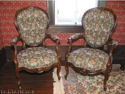 Pair Antique Louis XV American Victorian Chairs For Sale