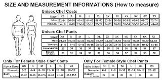 Newchef Size Chart