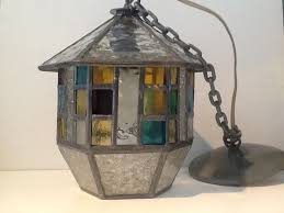 art deco six sided stained glass hanging lamp netherlands ca 1925