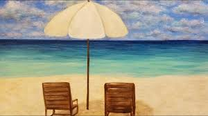 Easy Seascape Beach Chairs Umbrella Live Acrylic Painting Tutorial