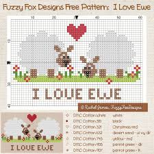 Fuzzy Fox Designs Fuzzy Fox Designs I Love Ewe Ponto Cruz Infantil Grafico
