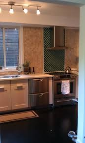le glass tiles accent wall kitchen los angeles by my tile backsplash