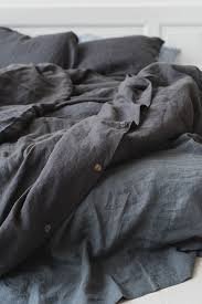 softened linen bedding graphite gray