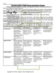 hammurabi s code teaching resources teachers pay teachers hammurabi s code of laws argumentitive essay hammurabi s code of laws argumentitive essay