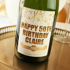 personalised 50th birthday chagne gift chagne