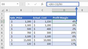 profit margin calculator in excel