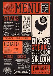 Steak Menu Design Steak Menu For Restaurant And Cafe Design Template With Food