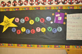 this bulletin board was up for our mystery unit once the students had read several mystery books we added student work to the board but i didn t snap a