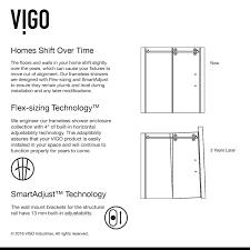 vigo elan adjustable frameless sliding
