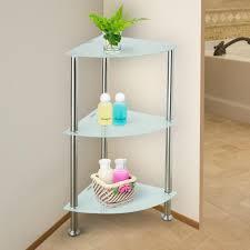 3 tier corner shelf stainless frame storage rack white tempered glass organizer