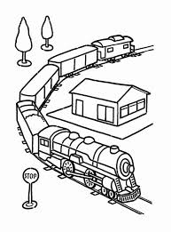 Locomotive coloring page of a toy train, with eyes, nose and mouth. Electric Train Set Toy And On Railroad Coloring Page Color Luna